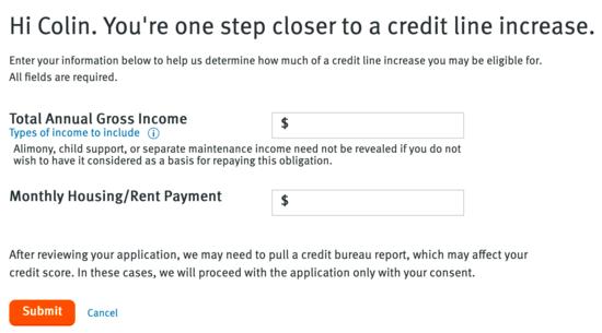 credit limit request