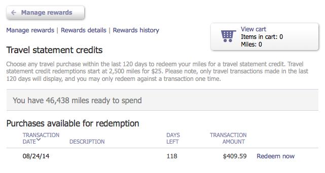 travel statement credit