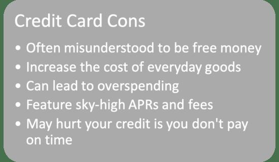 credit card cons